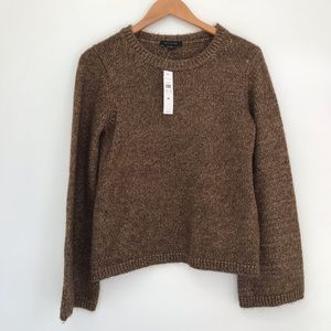 NEW Ann Taylor Brown Knit sweater bell sleeve